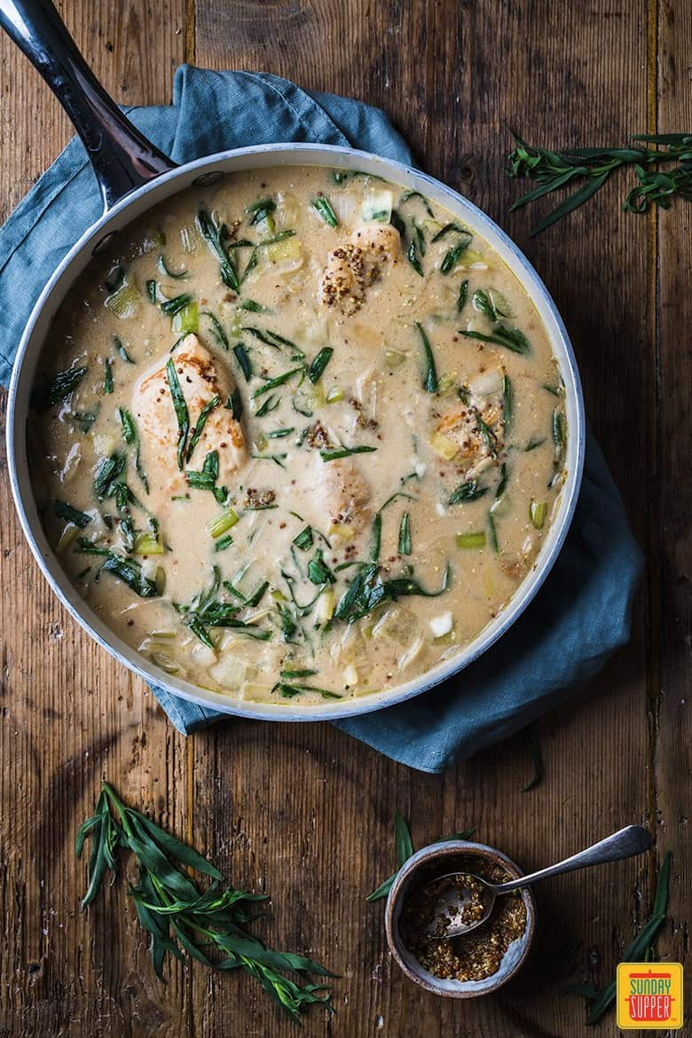 Chicken and leek recipe in the pan with tarragon