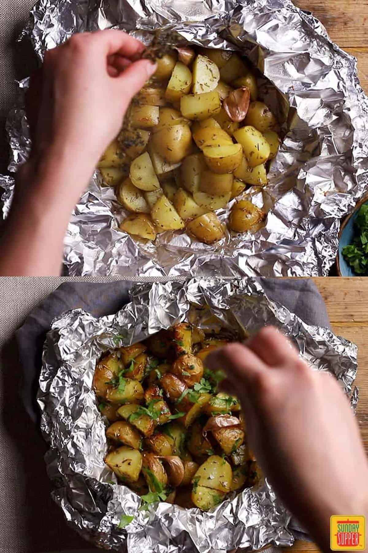 Cooking the foil pack potatoes and then topping with parsley