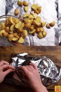 Folding seasoned potatoes into a foil pack