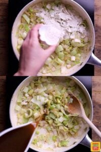 How to make chicken and leek recipe: cooking the vegetables