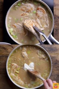 How to make chicken and leek recipe: adding the chicken back to the pan