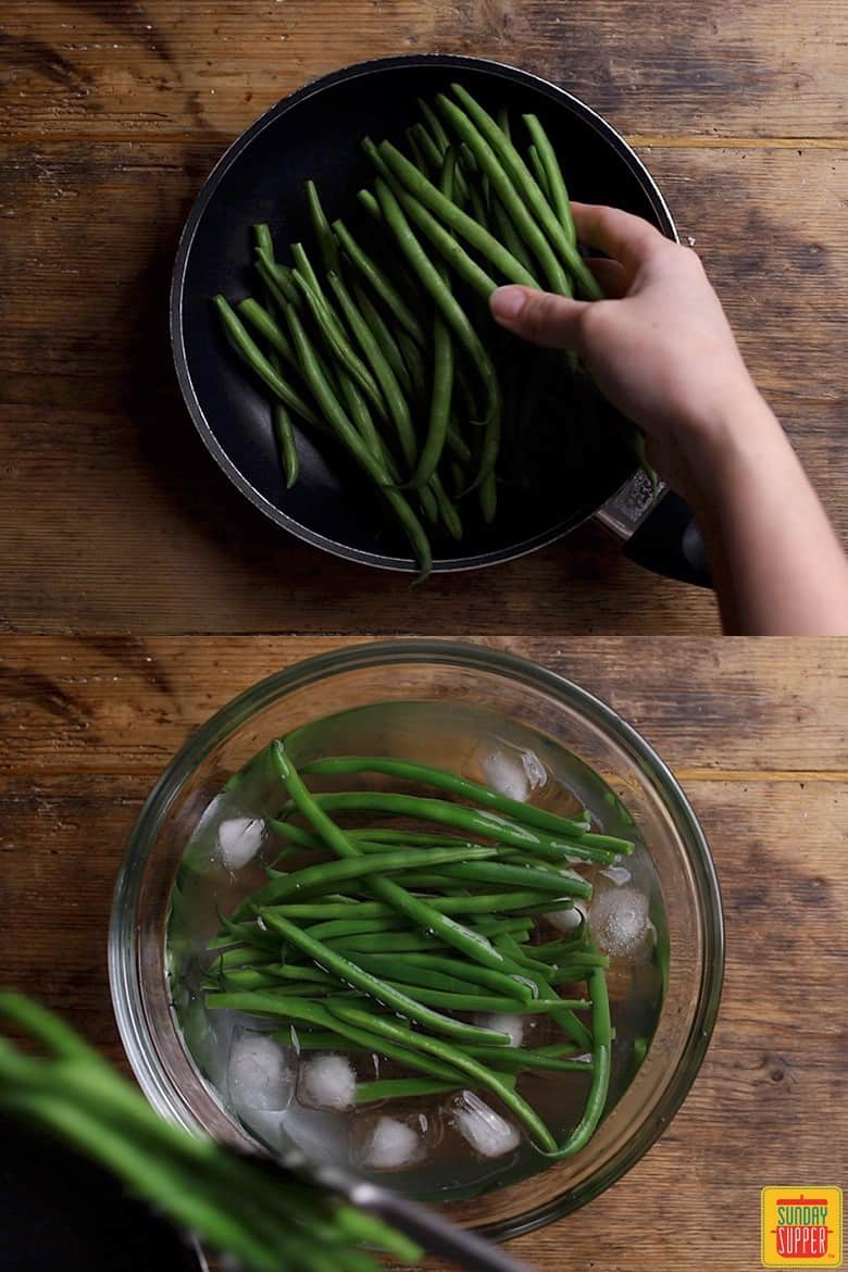 Blanching the green beans for green bean almondine after boiling them