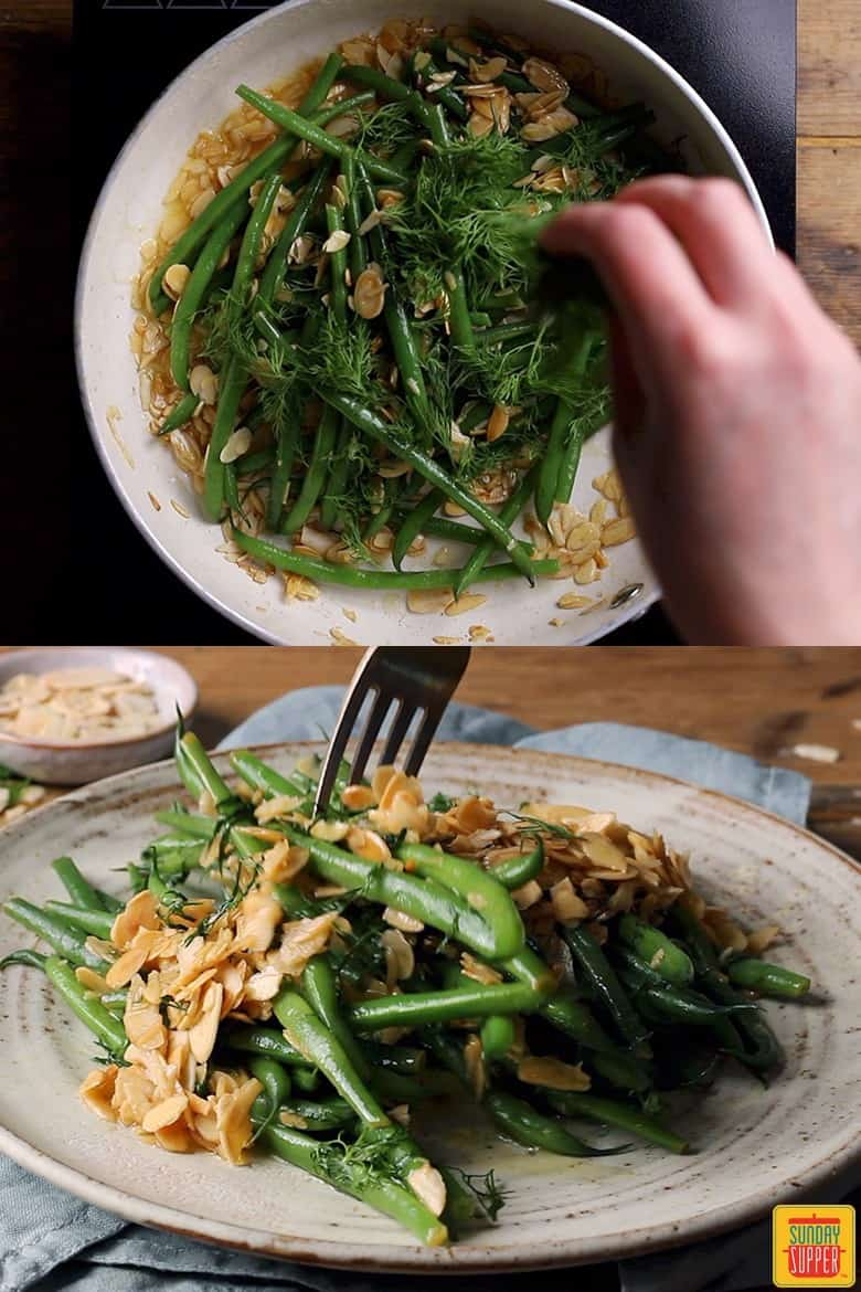Tossing the green beans in the pan with the cooked almonds and lemon, then showing the green bean almondine on a plate with a fork in it