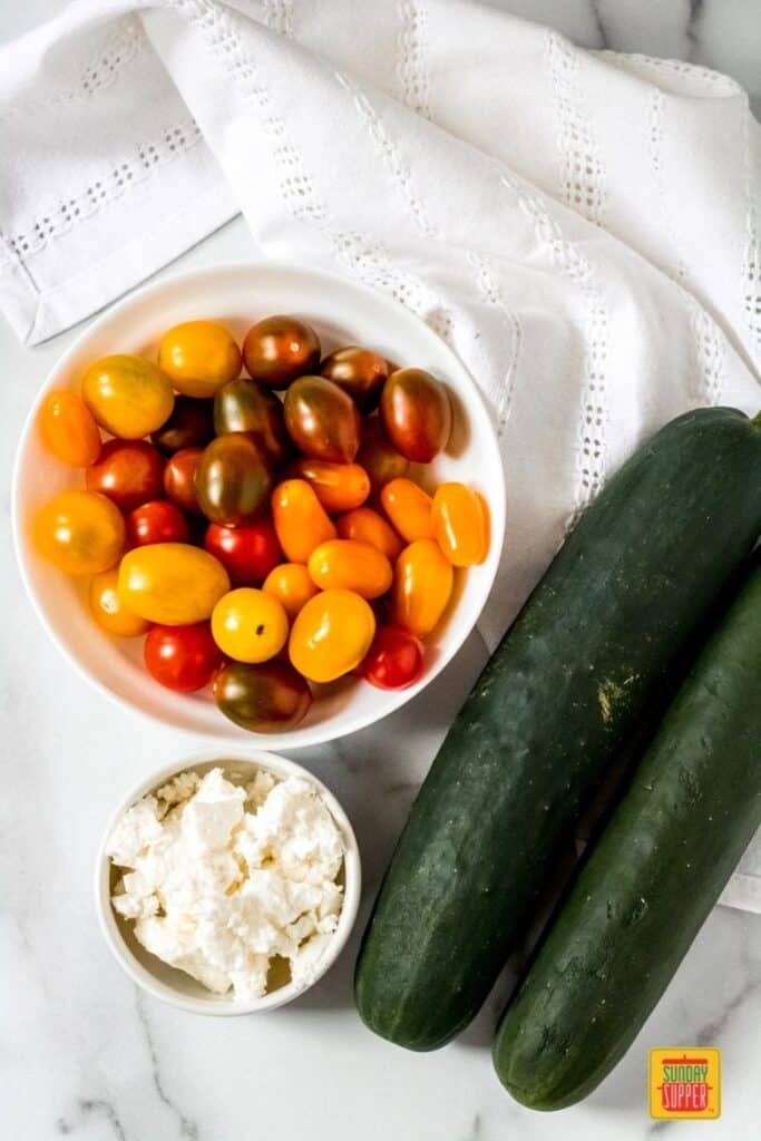 ingredients needed for tomato cucumber feta salad