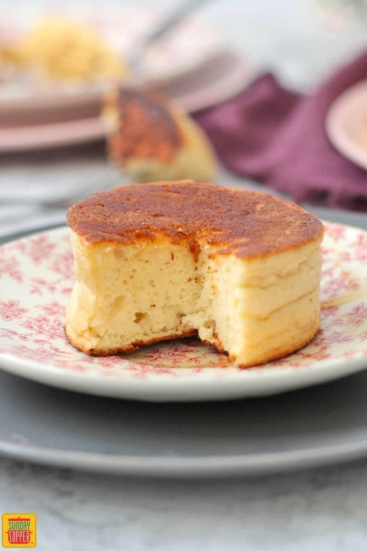 Fluffy pancake half eaten