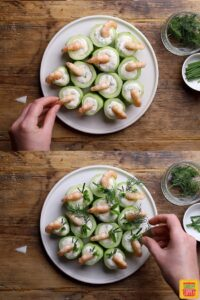 How to make cucumber canapes with shrimp: topping with shrimp