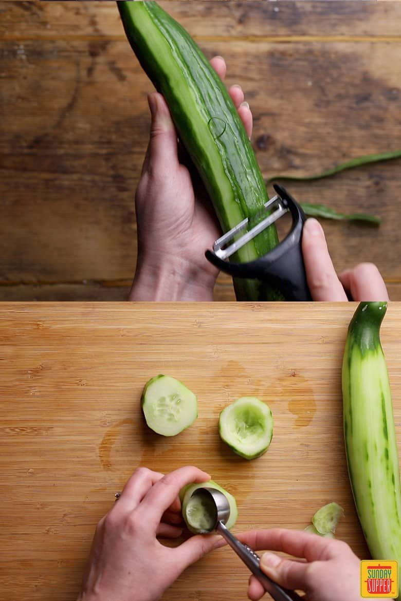 How to make cucumber canapes with shrimp