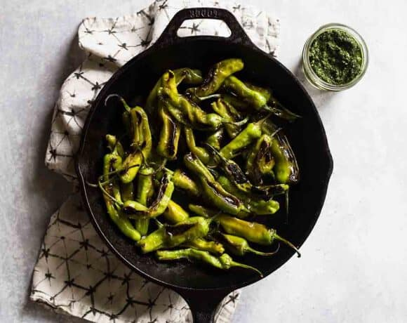 Blistered Shishito Peppers with Citrus Pesto Dip