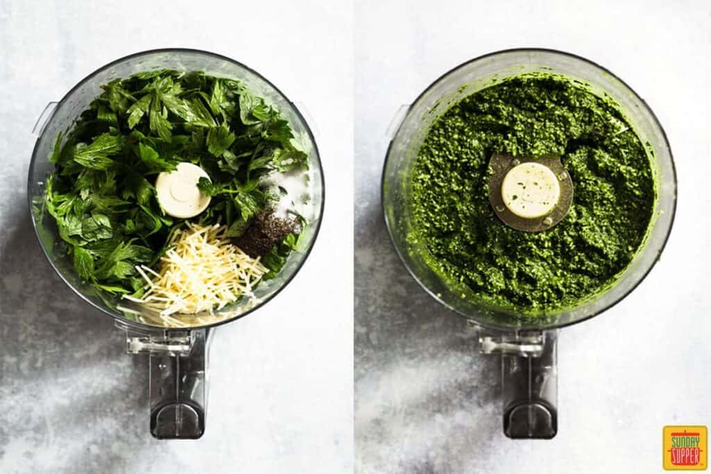 Citrus Pesto Dip in food processor