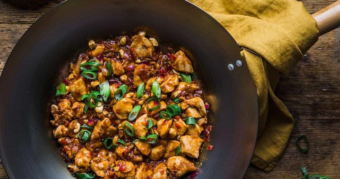 Dragon chicken recipe in a wok ready to serve