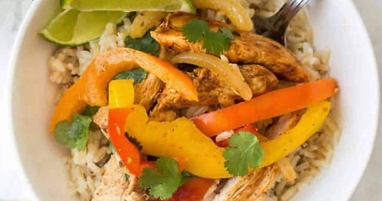 Chicken fajita meal prep in a white bowl