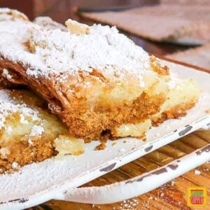 ooey gooey butter cake on a white platter covered in powdered sugar