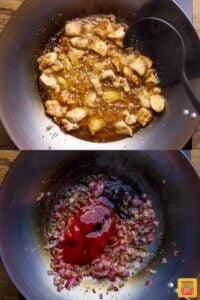 Cooking dragon chicken in a wok with dragon chicken recipe marinade