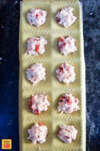 Ravioli lobster filling on sheets of pasta dough
