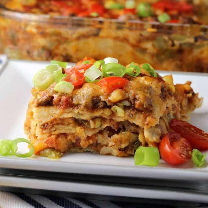 Mexican lasagna recipe on a plate