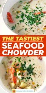Save our New England Seafood Chowder on Pinterest!