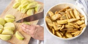 On the left, apples being sliced. On the right the slices are mixed with cinnamon and sugar in a white bowl