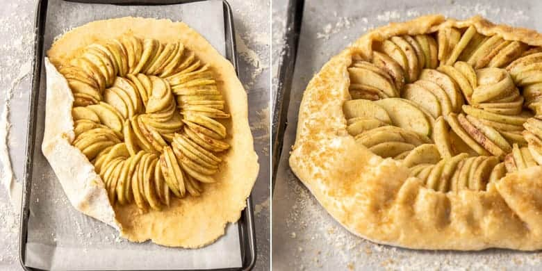 On the left, a top down view of a galette being folded. On the right a finished galette ready for the oven.