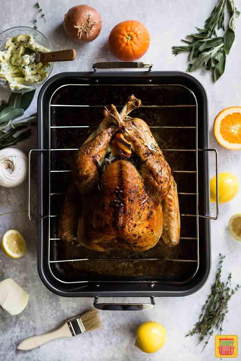 Best Thanksgiving Turkey Recipe on a baking rack