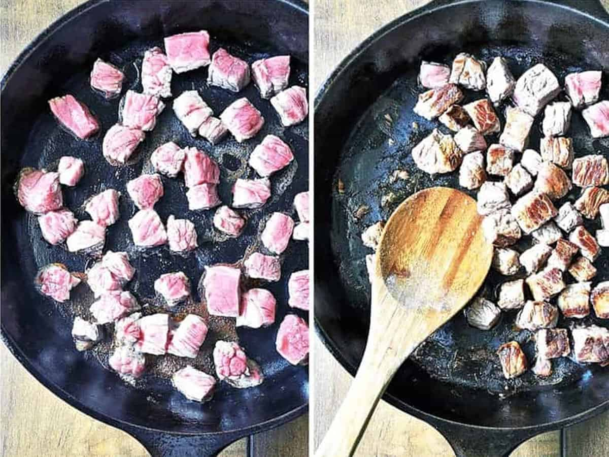 Cooking beef in the skillet to make carne picada