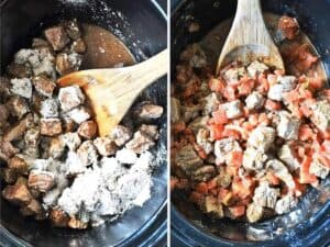 Mixing carne picada beef in the slow cooker with seasonings