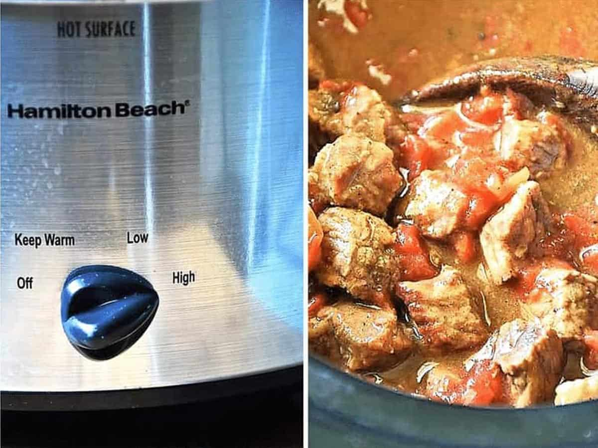 the slow cooker, and the completed carne picada slow cooker recipe on the righthand side