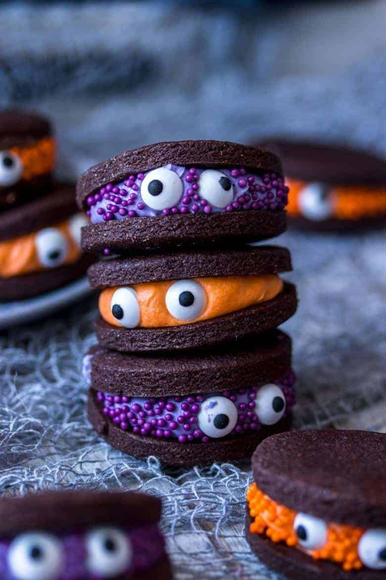 A stack of monster Halloween cookies from Sugar Salt Magic