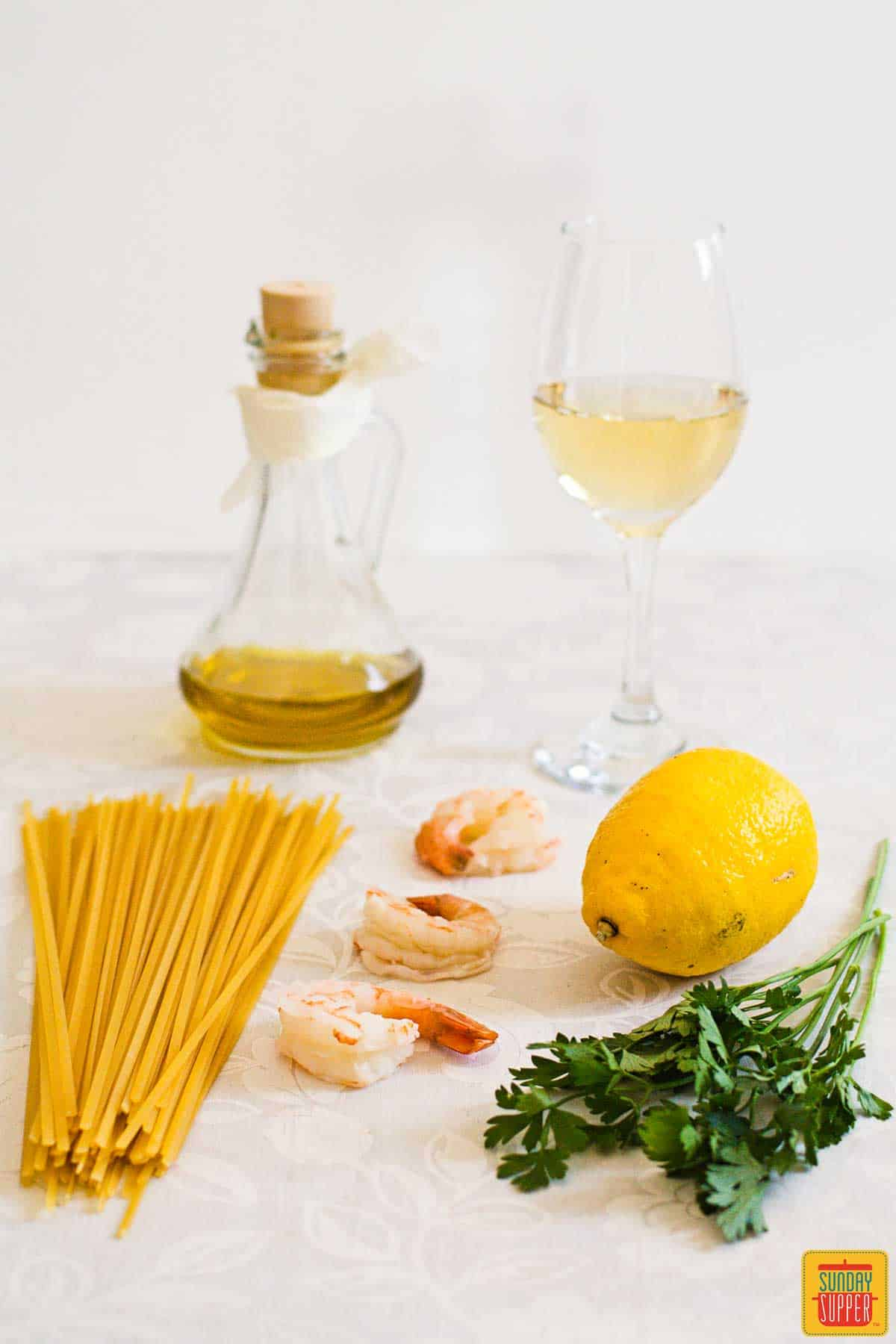 Shrimp scampi ingredients on the table