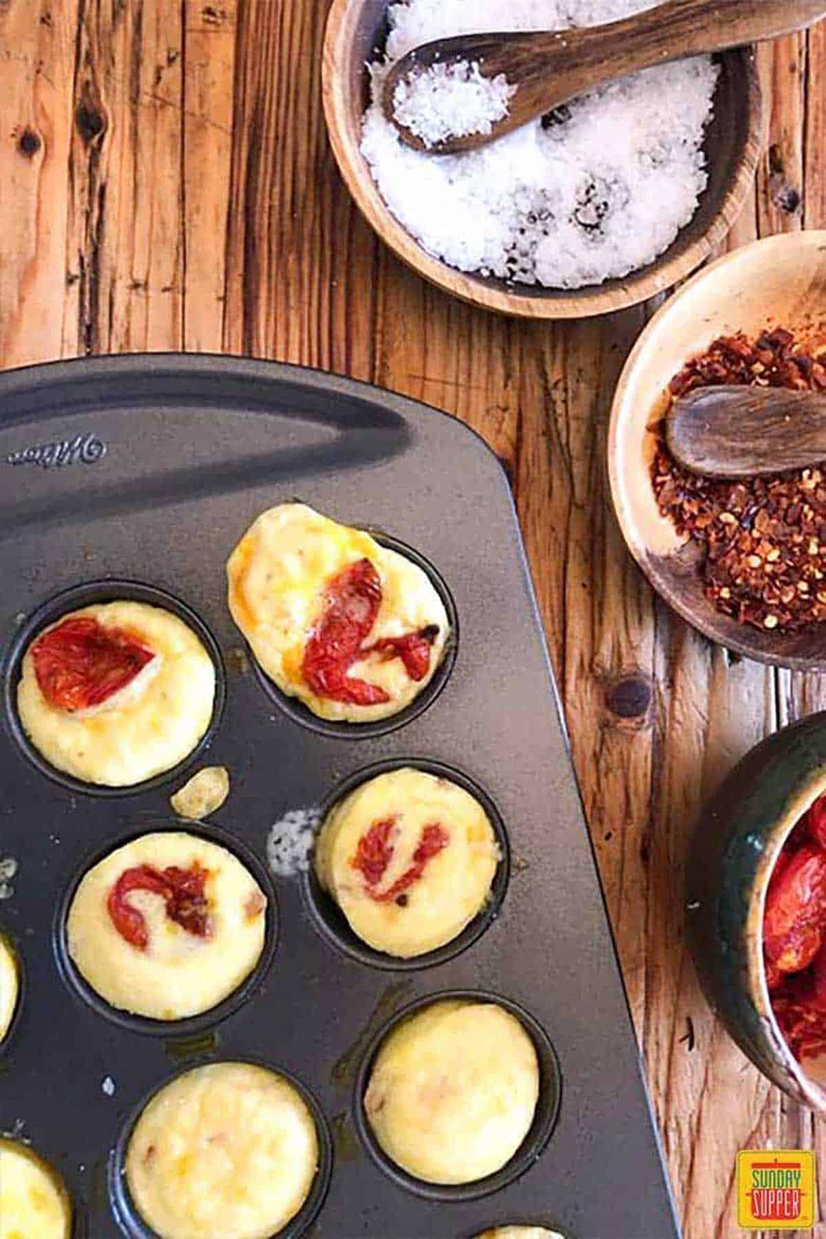 Baked Starbucks egg bites in a muffin tin