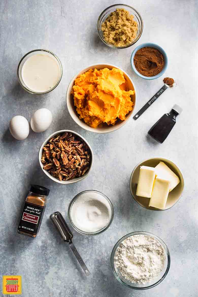 Southern Sweet Potato Casserole ingredients on counter