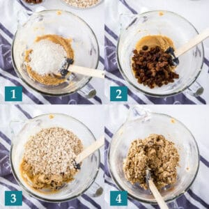 Four images showing steps for gluten-free oatmeal raisin cookies: folding in flour, folding in raisins, folding in oats, and mixing it all together with oats