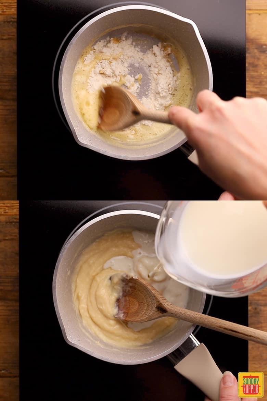 making chicken cordon bleu with parmesan sauce
