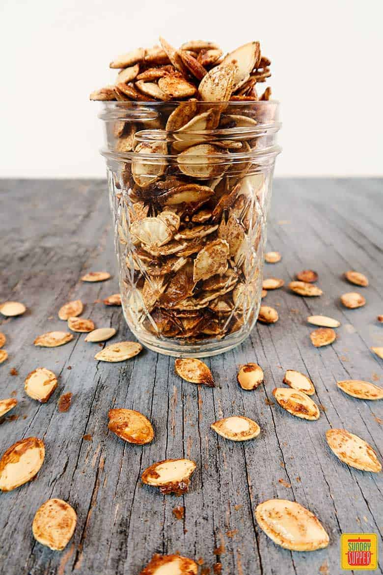 Pumpkin seeds in a jar