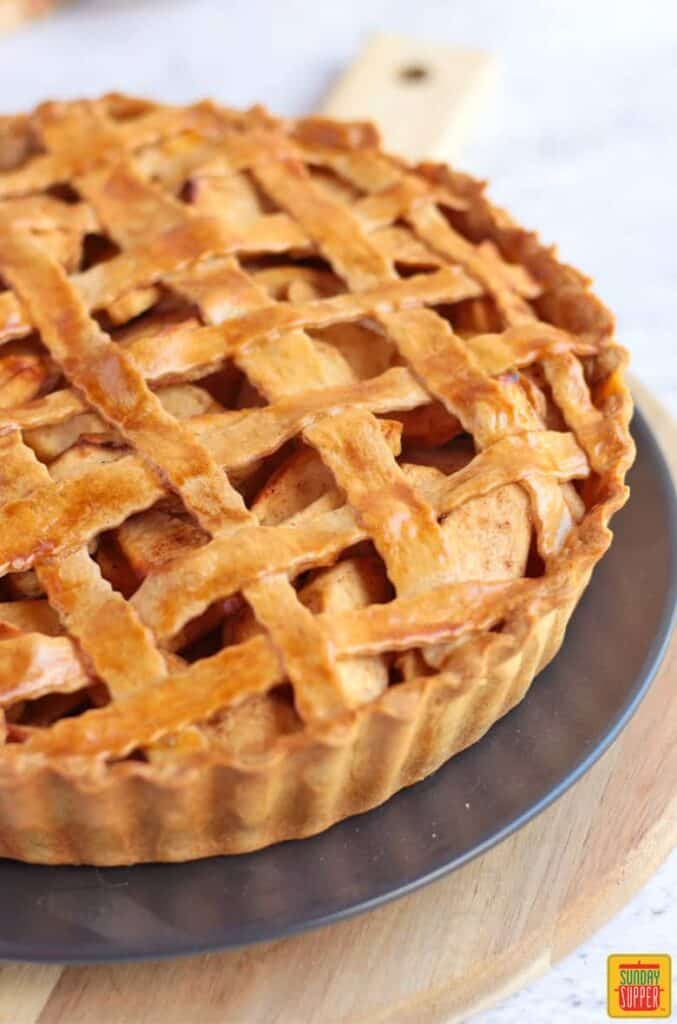 Close Up on the Lattice Top of a deep dish apple pie