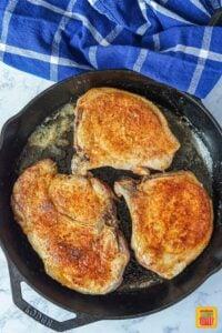 Pork chops browned in the pan