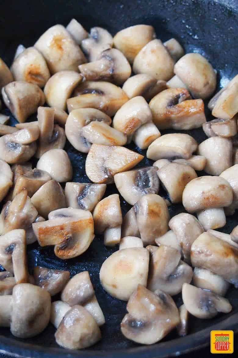 cooking mushrooms for easy beef bourguignon recipe