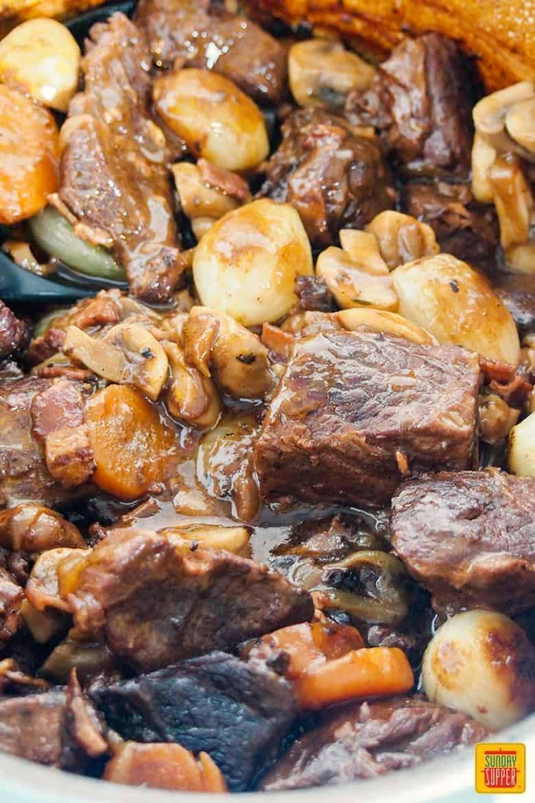 easy beef bourguignon recipe - stew ready to serve
