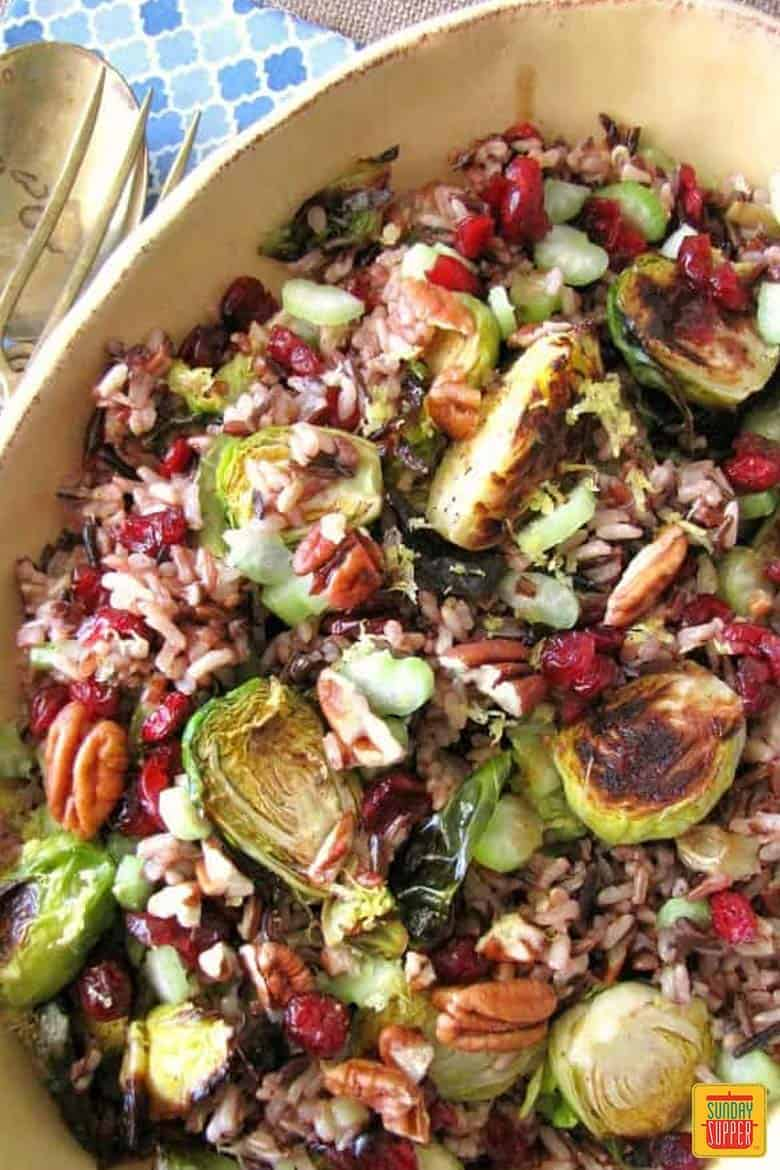 Roasted Brussels Sprouts and Wild Rice Salad