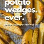 Baked crispy potato wedges pin image