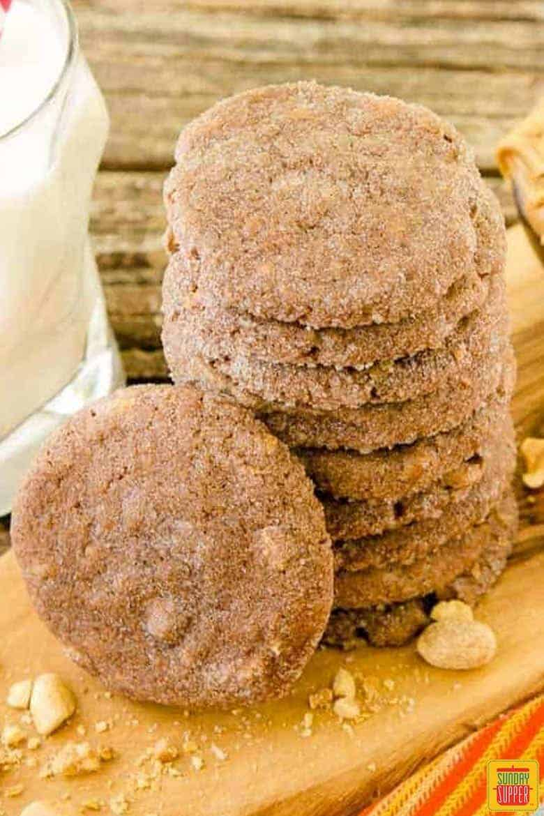 Mexican chocolate peanut butter cookies in a stack