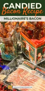 candied bacon recipe in christmas tin pin image