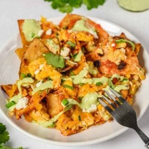 chilaquiles on a white plate with a fork