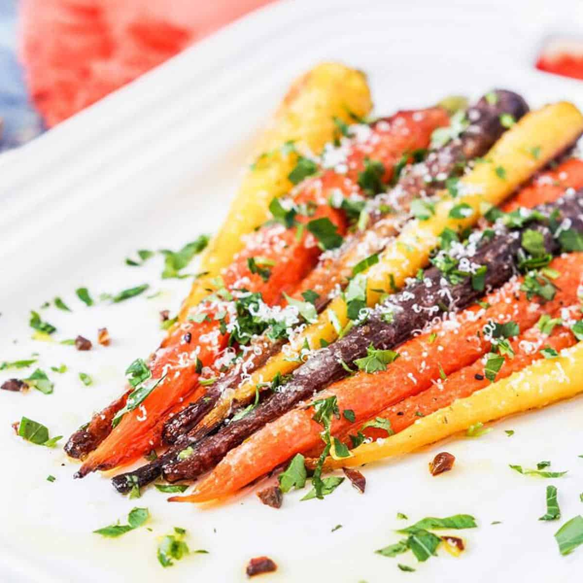 Garlic parmesan roasted carrots on a plate