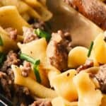 ground beef stroganoff recipe pin