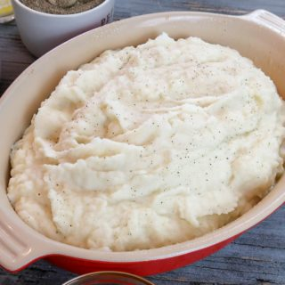 mashed potatoes in a casserole dish