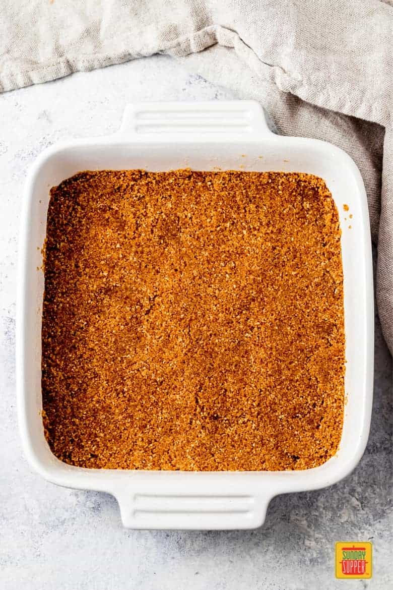 oatmeal crust pressed into an 8x8 baking dish
