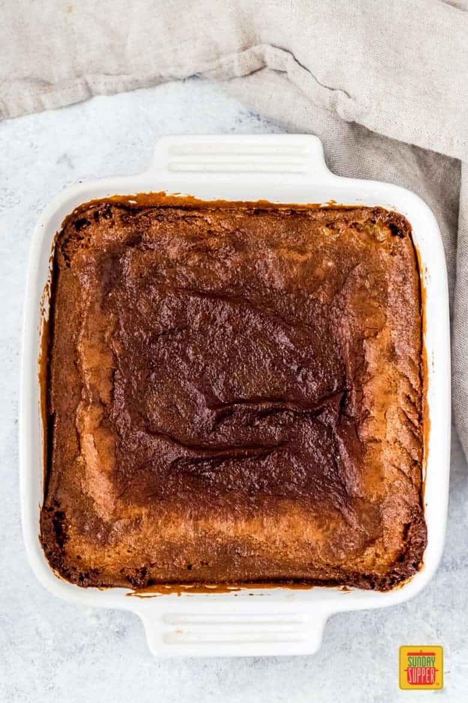 Milk bar pie in a baking pan after baking