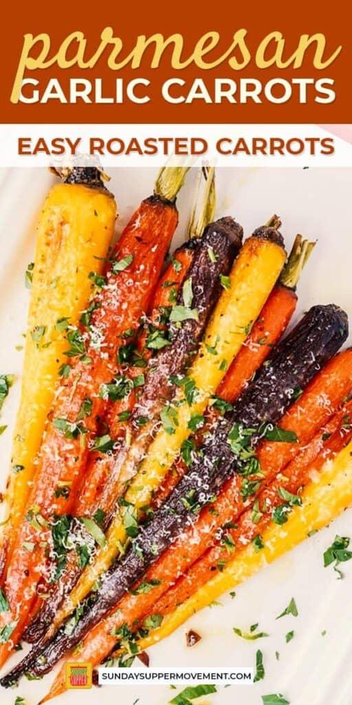parmesan garlic roasted carrots pinterest image
