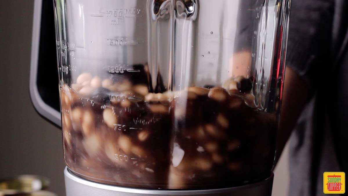 view of blended beans for white bean chicken chili