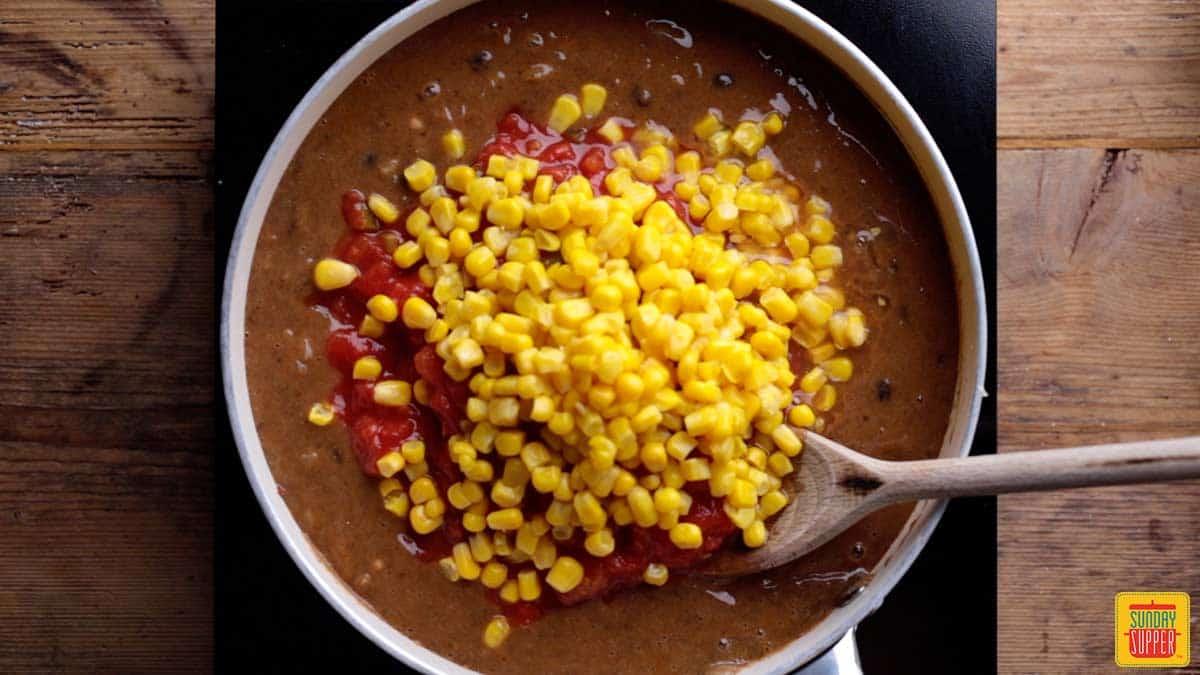 Adding corn to best chicken chili recipe